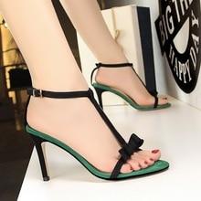 sandals women shoes wedges for summer 2019 hing heel Sweet high heels suede bow stripper sandalias mujer
