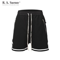 H.A.Sueno high street mens sport shorts solid hip hop shorts for men Cross short pants loose fit sport pants drop shipping /5