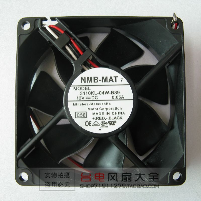 NMB MAT 3110KL 04W B89 C56 DC 12V 0.38A 3 Wire 80X80X25mm Server Cooler Fan