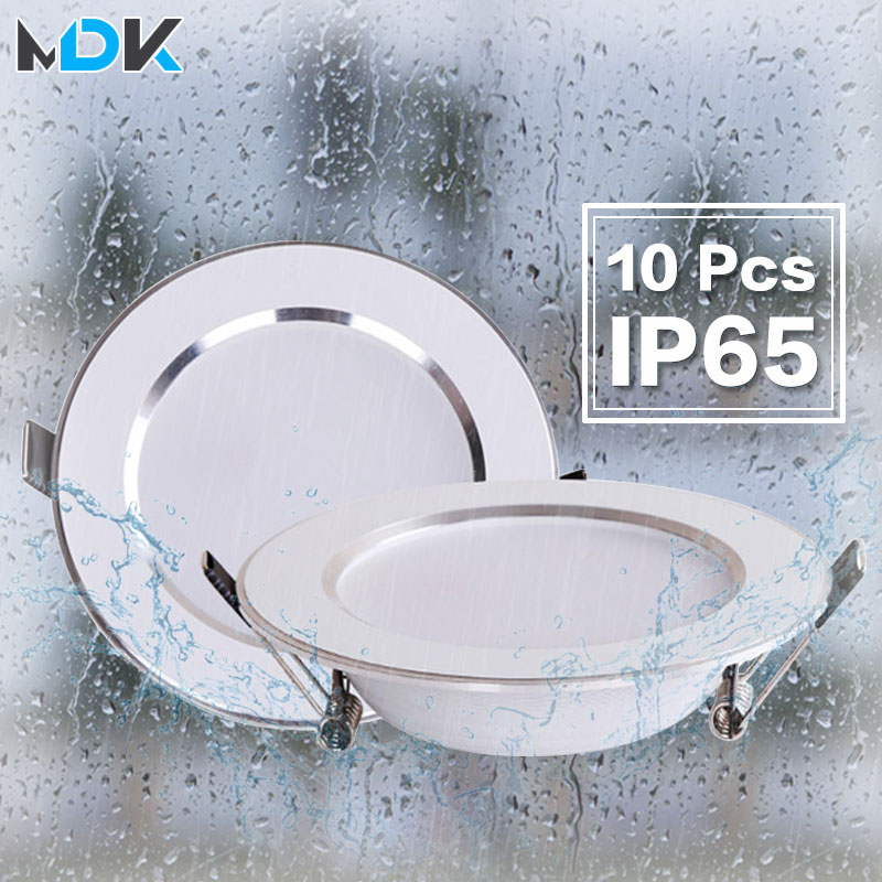 10 pcs lot Dimmable Waterproof LED Down lights 5W 7W 9W 12W 15W 18W LED Downlight  Outdoor Leds Ceiling Lamp For Bathroom Bulb(China)