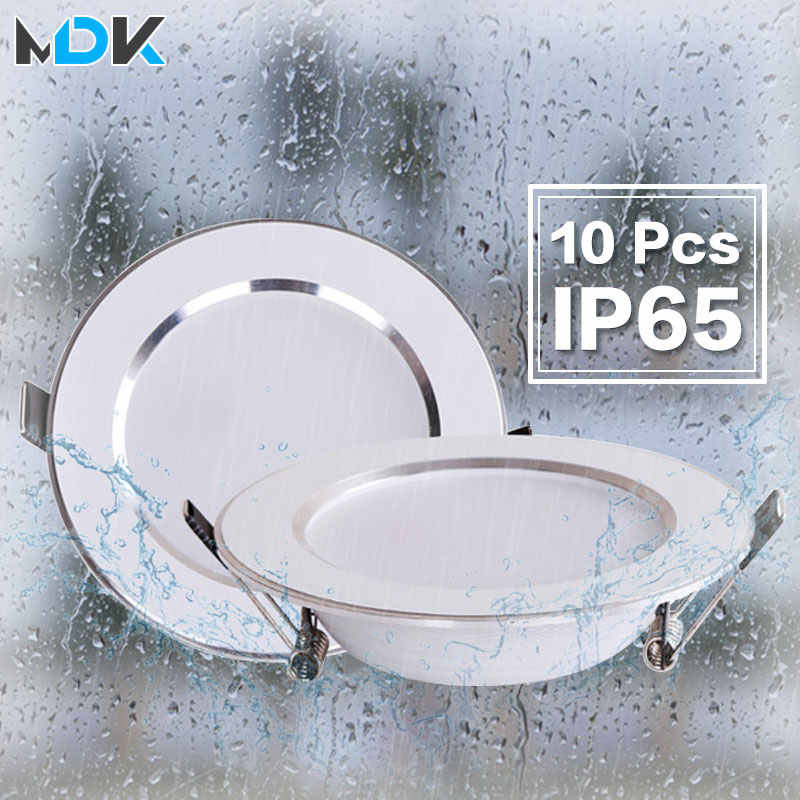 10 pcs lot Dimmable Waterproof LED Down lights 5W 7W 9W 12W 15W 18W LED Downlight  Outdoor Leds Ceiling Lamp For Bathroom Bulb