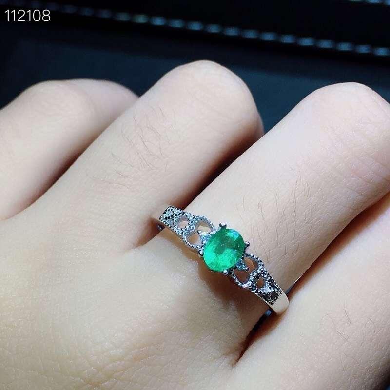 Mooie Uitholling Key crown S925 zilver natuurlijke groene smaragd edelsteen ring Hanger natuurlijke edelsteen sieraden set vrouw party gift - 3