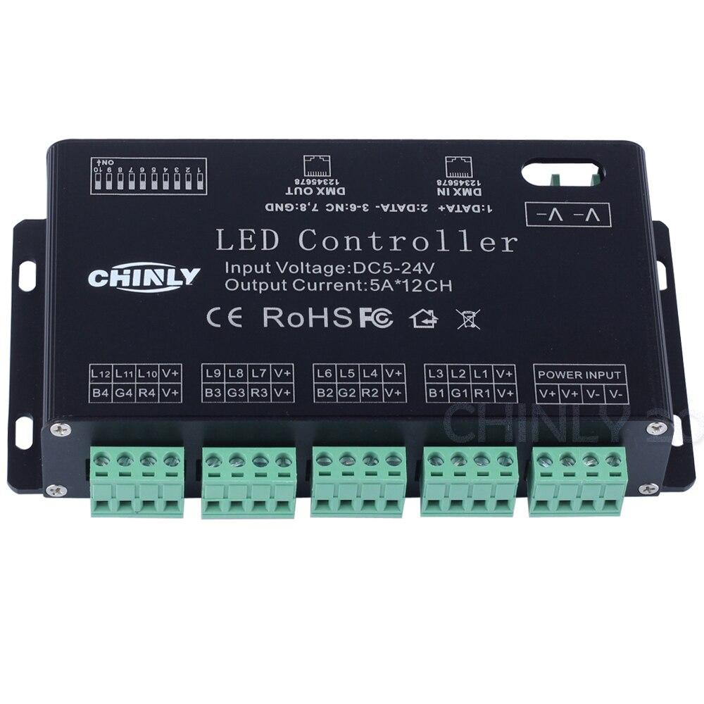 Здесь продается  CHINLY Band DMX Decoder rgb12Channels DMX LED controller DMX decoder DC 5V-24V with USB DMX controller & driver LED strip module  Свет и освещение