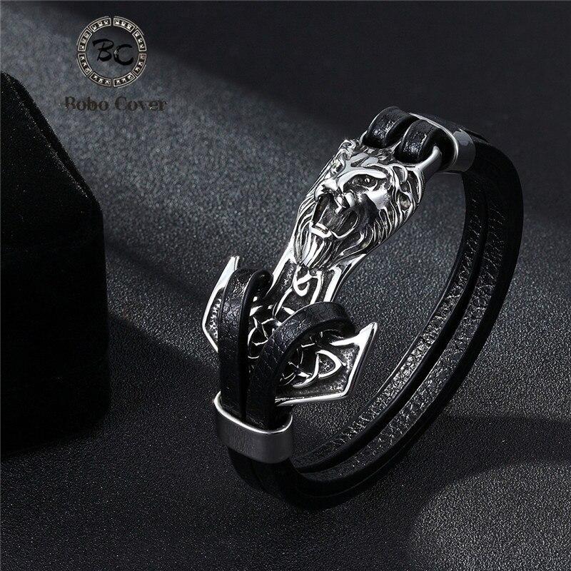 New Fashion Cross vintage punk Stainless steel Animal  Bracelets Men Charm Anchor bracelets & bangle for Mens Jewelry homme Gift