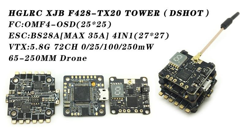 HGLRC XJB F428-TX20 Flight Control F4 Flight Controller 28A 2-4S Blheli_S ESC 25/100/250mW Switchable VTX flight fgus 15
