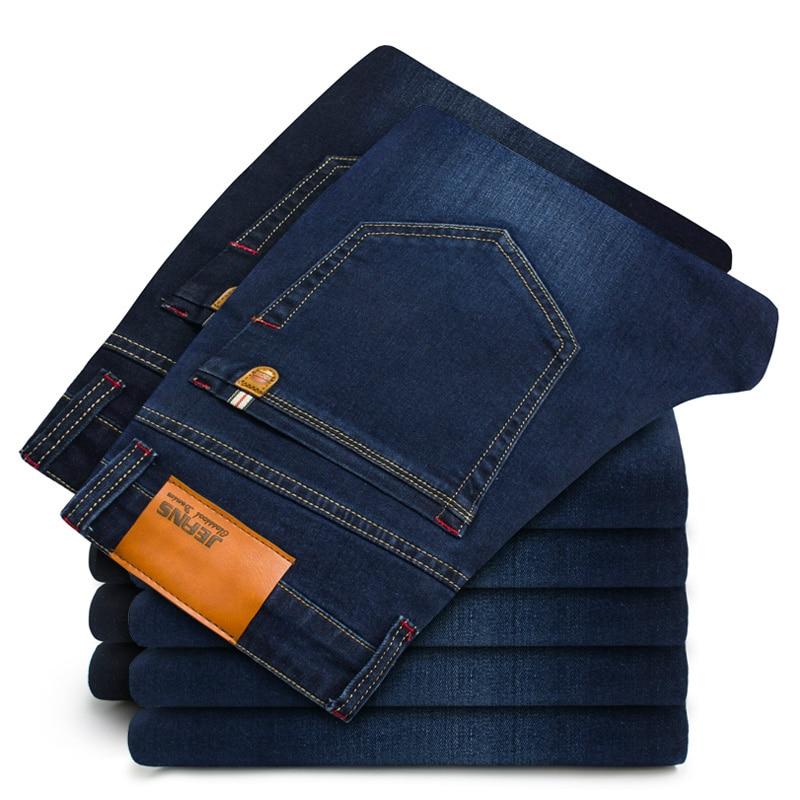 2019 New Cotton Jeans Men High Quality Denim Trousers Soft Mens Pants Men's Fashion Plus Size 44 46 Black Blue Celana Jeans Pria
