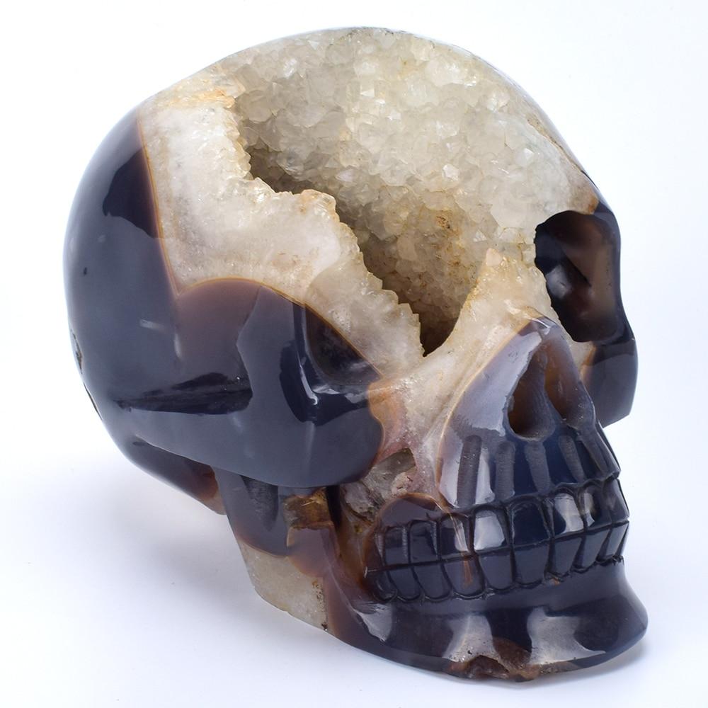 Lifesized 6,8 ''натуральный агат Geode резные кристалл кварца череп реальное Исцеление резьба по камню скульптура для домашнего декора