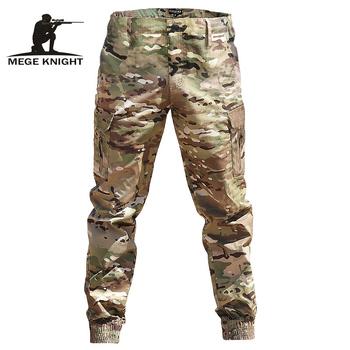 Mege marka mężczyźni moda Streetwear Casual spodnie kamuflażowe do biegania taktyczne spodnie wojskowe męskie spodnie bojówki do dropppshipping tanie i dobre opinie MEGE KNIGHT Ołówek spodnie Pełnej długości QinZhouSuJiaoKu Hip Hop Mieszkanie Poliester COTTON Midweight vintage Suknem