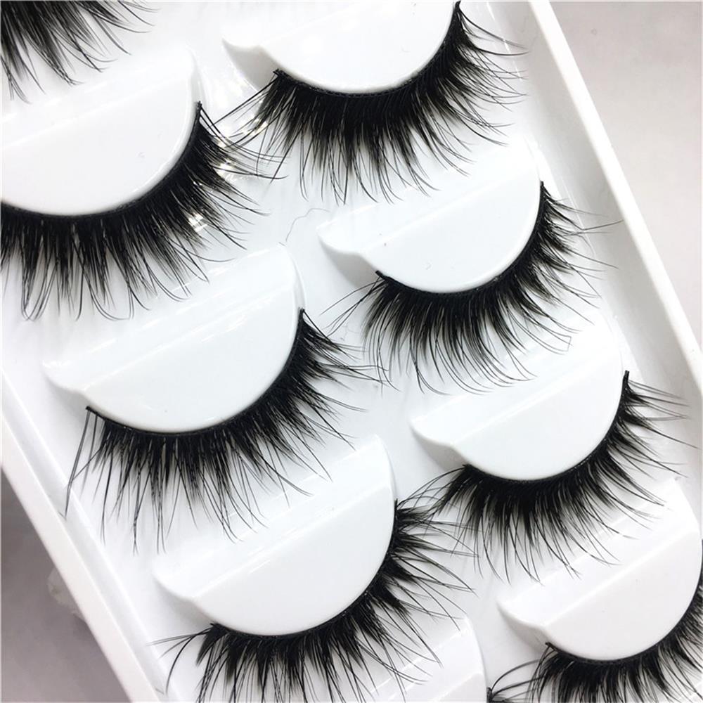 5Pairs Handmade Pro Women Makeup Black False Eyelashes -6078