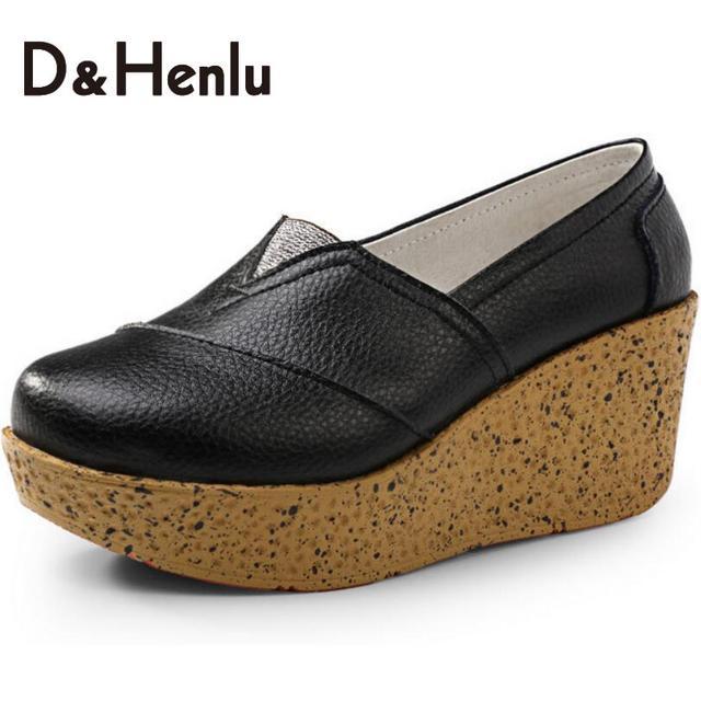 {D & H} Emagrecimento Mulheres Sapatos de Couro Genuíno Sapato Da Moda Casual Cor Sólida de Fitness Senhora Sapatos de Swing Mulheres Vulcanize Sapatos da Mulher