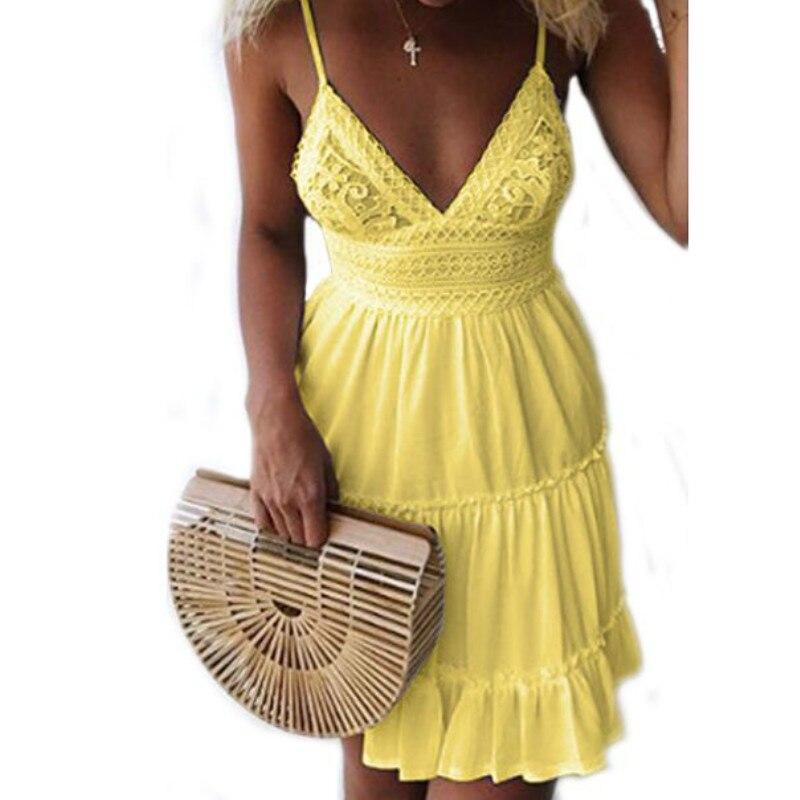 Girls White Summer Dress Spaghetti Strap Bow Dresses Sexy -7648