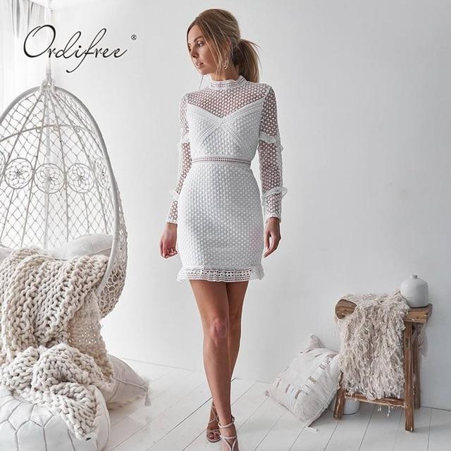 097b02a4e5d0 Ordifree 2019 Summer Women White Lace Dress Short Dress Long Sleeve  Streetwear Sexy Bodycon Mini Dress