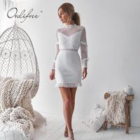 Ordifree 2019 Summer Women White Lace Dress Short Dress Long Sleeve Streetwear Sexy Bodycon Mini Dress