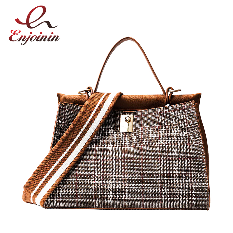 New arrival fashion casual plaid stitching Pu Leather ladies totes shoulder bag handbag women's crossbody messenger bag purse new punk fashion metal tassel pu leather folding envelope bag clutch bag ladies shoulder bag purse crossbody messenger bag