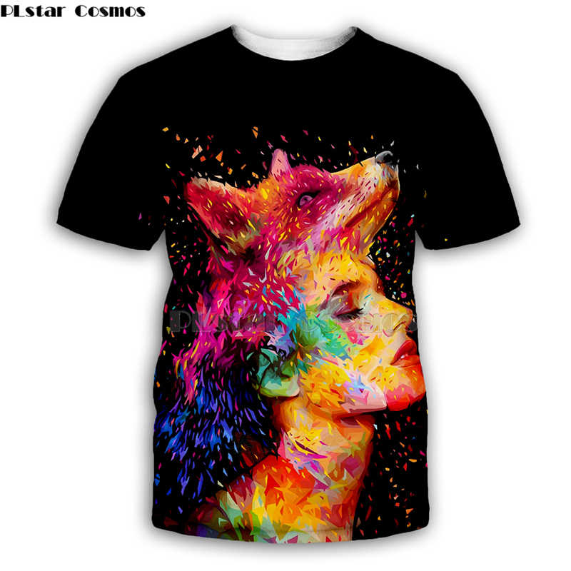 colorful fox and sexy girl Alessandro Pautasso Artist Tees 3D Print t shirt Men Women sleeve streetwear