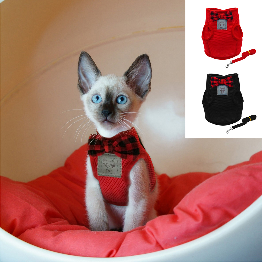 Mesh Bowtie Cat Harness And Leash Small Cat Walking Harness Pet Kitten Clothes Red Black