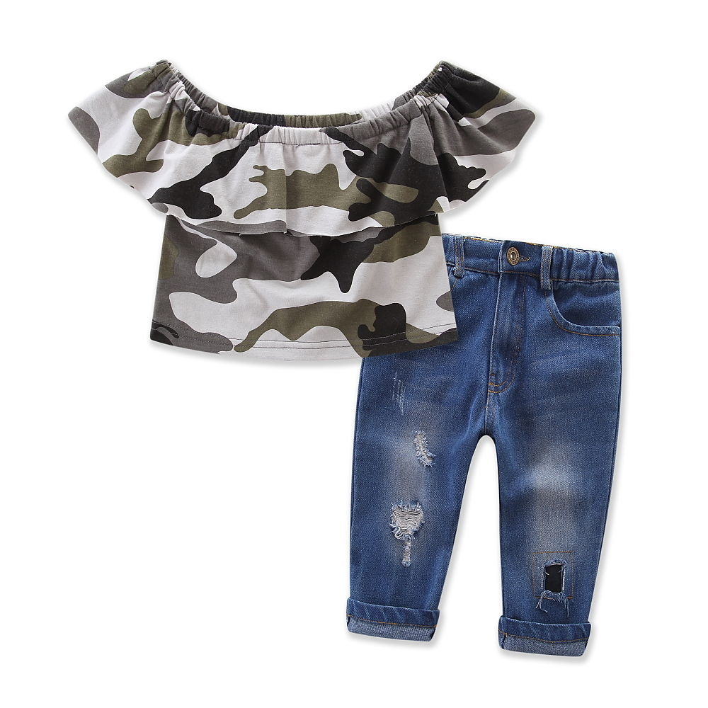 2017 New Fashion Kids Clothes Off shoulder Camo Crop Tops+Hole Jean Denim Pant 2PCS Outfit Summer Suit Children Clothing Set 2017 cute kids girl clothing set off shoulder lace white t shirt tops denim pant jeans 2pcs children clothes 2 7y
