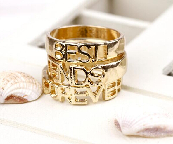 2016 Fashion 18k Gold Best Friend Gift Best Friend Forever Ring