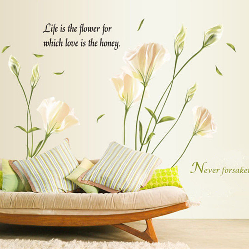 Elegant Lily Flowers Wall Sticker On The Wall Stickers Home Decor Bedroom Backdrop Wall Decals Hot Sale