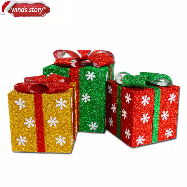 new 15202530cm detachable xmas gift boxes christmas present packing boxes - Decorative Christmas Gift Boxes