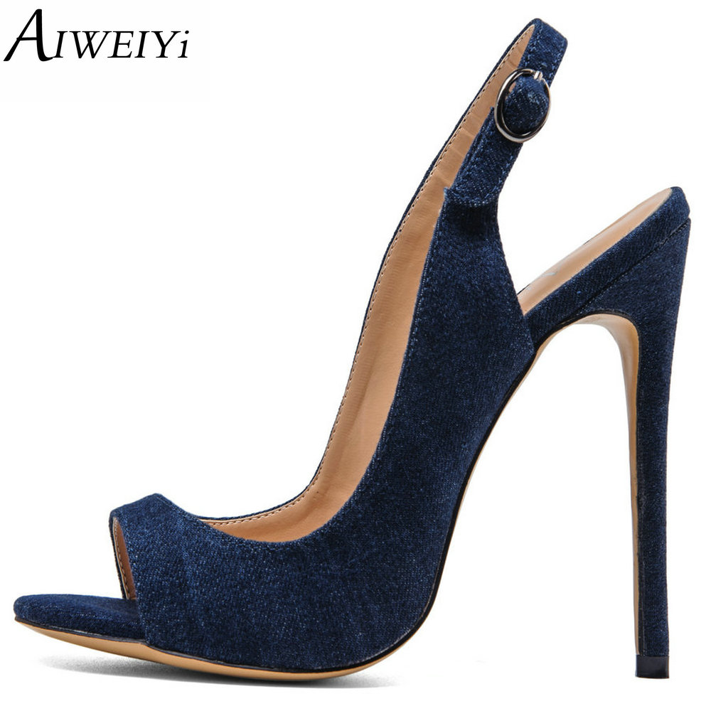 AIWEIYi Women's Peep Toe High Heels Denim Skin Summer Platform Shoes Woman Party Pumps Buckle Strap Black Ladies Wedding Shoes women luxury shoes platform pumps bridal wedding lolita shoes black red beige bottom peep toe high heels fetish shoes size 4 16
