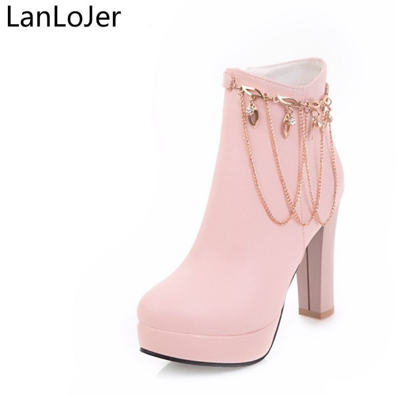 LanLoJer Pu Leather Winter Shoes Woman Boots Ankle Boots 2017 New Shoes High Heels Plus Size 33-43 Round Toe Dress Shoes Chain