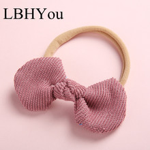 1pcs Soild Cute Corduroy Bows Girls Nylon Headbands,Newborn Soft Elastic Headwraps,Round Bowknot Hairbands For Kids Heads