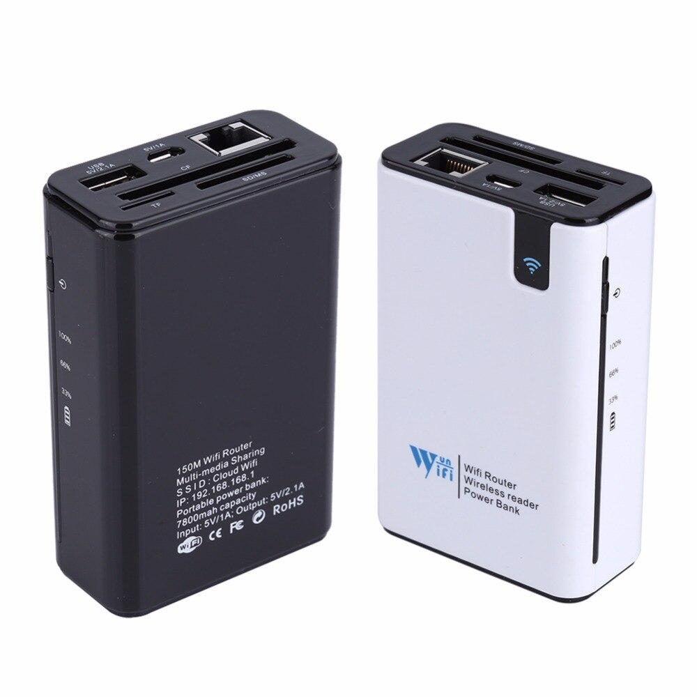 Prix pour Sans fil Lecteur de Carte USB Hub RJ45 Port 3G Hotspot WiFi routeur Externe Puissance Banque 7800 MAH pour N'importe Quel Smartphone Tablet PC ordinateur portable