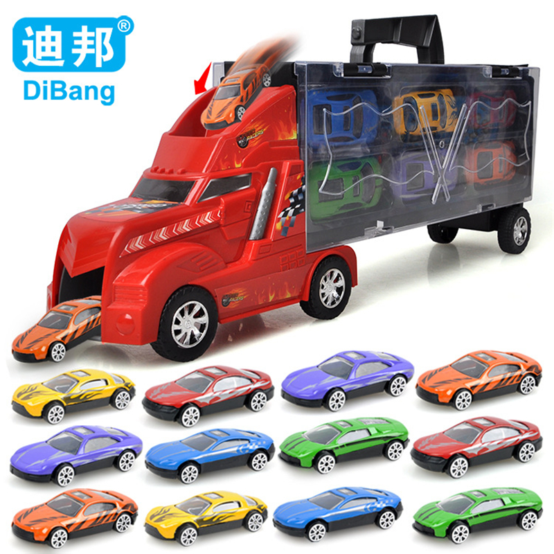 цена на Hot New 12Pcs High Quality Car Children Tractor Gift Toy Alloy Wheels Slide Front Car Educational Dinky Toy Model Luxury Gift