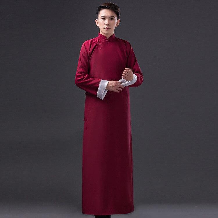 Chinese Traditional Dress Men Mandarin Collar Long Robes Plus Size ...