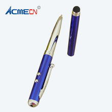 ACMECN  Simple & Useful 4 in 1 Multifunction Ballpoint Pen with Touch Scrween stylus for IPhone and LED light Laser Pointer Pen compact 4 in 1 red laser ball point pen led light retractable pointer silver 3 x lr41