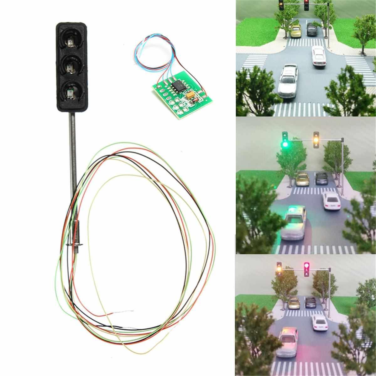 1 zestaw sygnalizator świetlny HO OO skala Model LED architektury pociągu przejazdu kolejowego spacer ulica + płytka drukowana