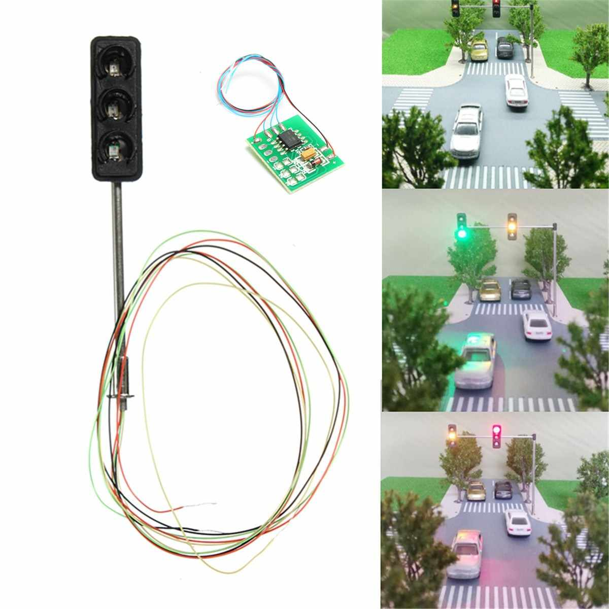 1Set de señal de luz de tráfico escala HO OO LED modelo de arquitectura tren de ferrocarril cruce de la calle + placa de circuito