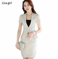 Fashion Work Wear Short Sleeve Women Skirt Suit OL Elegant Plus Size Uniform Office Ladies Slim
