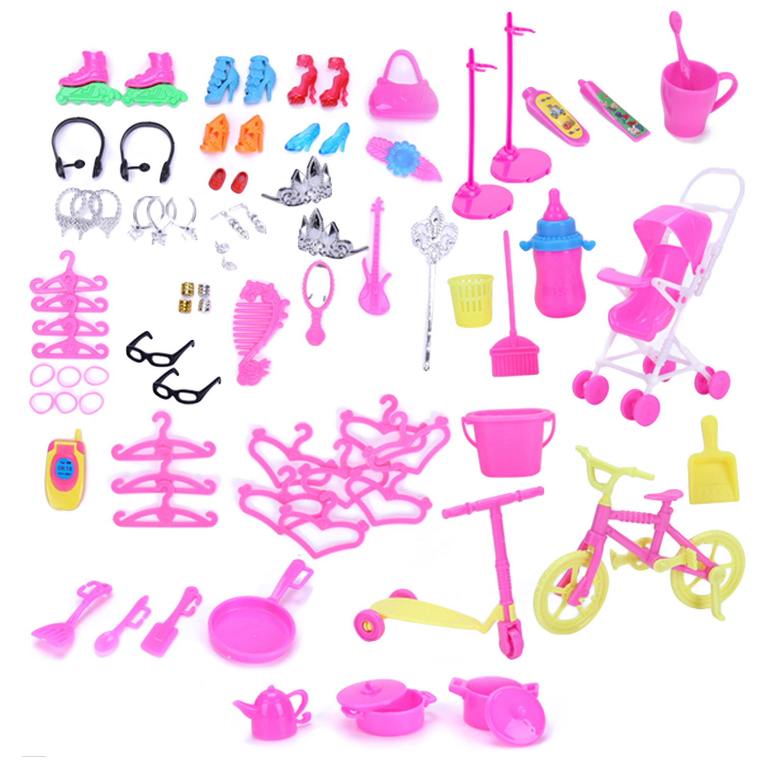 98 PCS Complete Doll Accessories Kit High Heels Kitchen Supplies Cleaning Tools Clothing ...