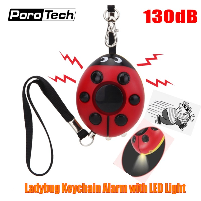 2018 Creative Beetle Keychain Alarm 130dB Personal Security Self Defense Alarm Keychain With LED Flashlight For Girls Kids