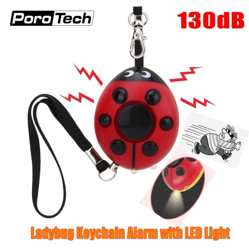 2018 Creative Beetle Keychain Alarm 130dB Personal Security Self Defense Alarm Keychain With LED Flashlight For Girls Kids