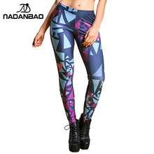 Legging Black Blue and Purple Objects Printed  for Women Sexy Pants