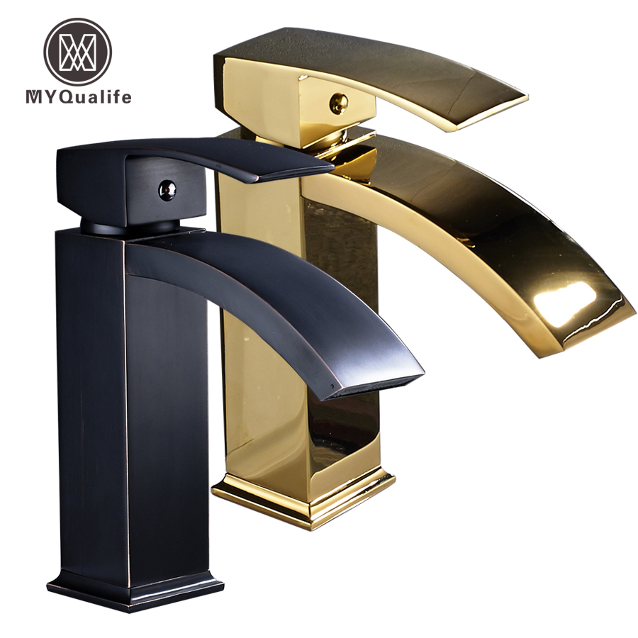 Deck Mounted Square Waterfall Bathroom Vanity Sink Faucet Single Lever Brass Golden/black Basin Mixer Water Taps