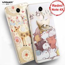 Vpower для Xiaomi Redmi Note 4x случае 3D рельеф Мультфильм задняя крышка Мягкий силиконовый чехол телефона Чехлы для Redmi Note 4×5.5»
