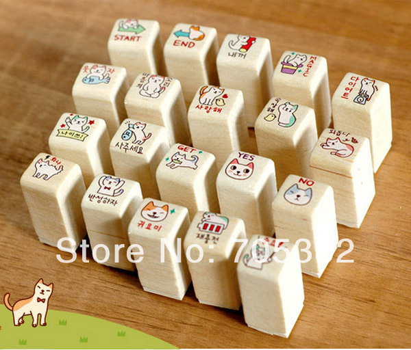 1set/lot Cute cat stamp set Wood stamp DIY funny work stamp Kids' gift office school supplies(ss-8717) she love teacher stamp self inking rubber stamp school homework reward education praise scrapbooking cartoon kids stamp