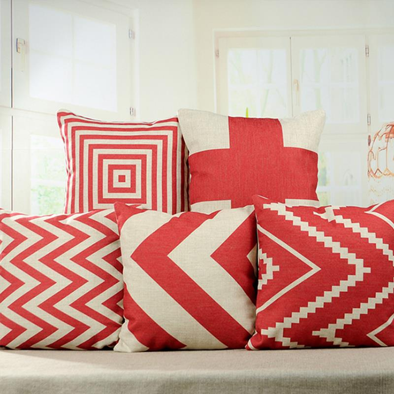 2015 hot red geometry decorative throw pillows case linen cotton cushion cover creative decoration for sofa - Decor Pillows
