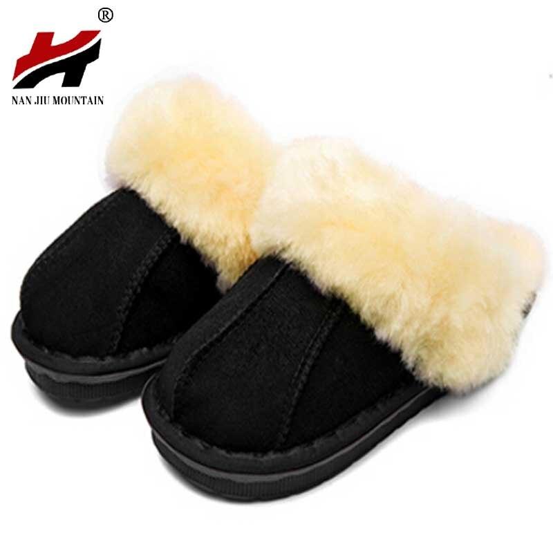Winter Warm Indoor Shoes Thick Wool Slippers font b Women b font Men Couple Furry Sheepskin