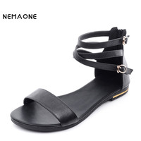 Women Sandals New Summer Genuine Leather Sandals Size 33 43 Shoes Flat Sandal Zipper
