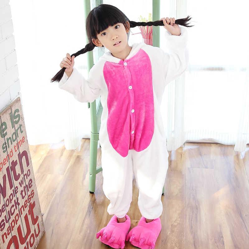 בנות בני חורף פיג 'מה ילדים Unicorn Cartoon אנימה בעלי החיים Onesies הלבשת פליז חם סרבל ילדי פיג' מה