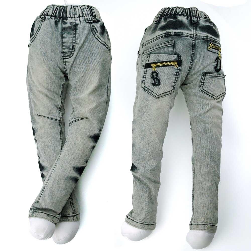 4-8Y Xhinse adoleshencë djem, fëmijë Denim Capris, butona bronzi Pantallona të qëndisura MH9026