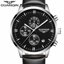 2016 Men Watches Luxury Top Brand GUANQIN Sports Chronograph Fashion Male Dress Leather Belt Clock Waterproof Quartz Wrist Watch