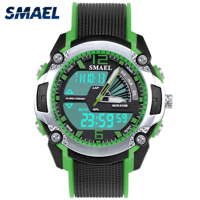 Bright Green Coloured Watch Case Children Electronic Dual Display Pointer Type A
