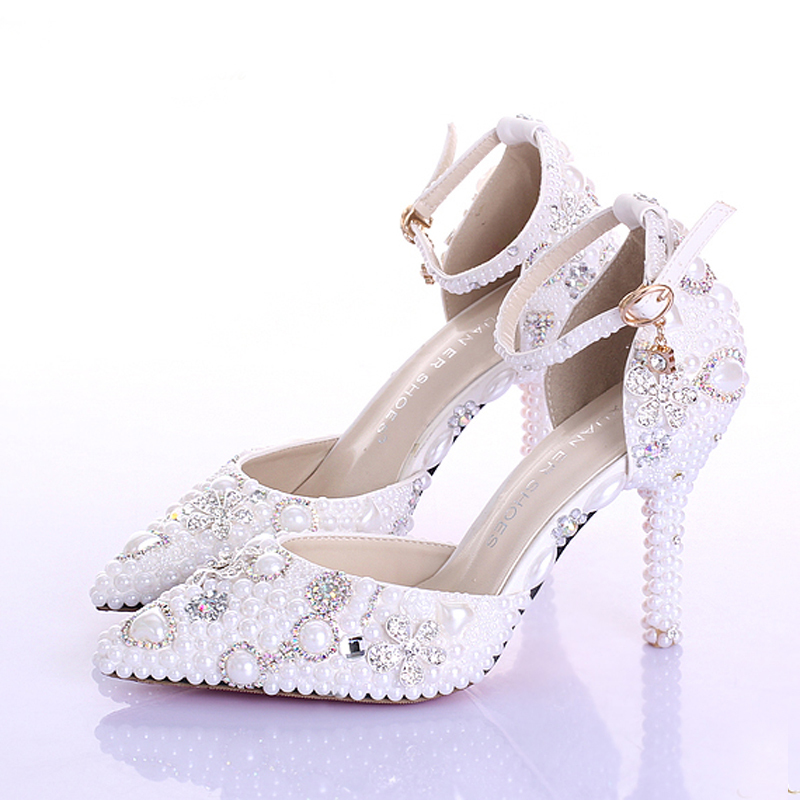 482a0a3926 US $82.11 |New Style Handmade Pointed Toe Ankle Strap Bridal Dresses Shoes  White Pearl Wedding Shoes Popular Formal Shoes Rhinestone Pumps-in Women's  ...