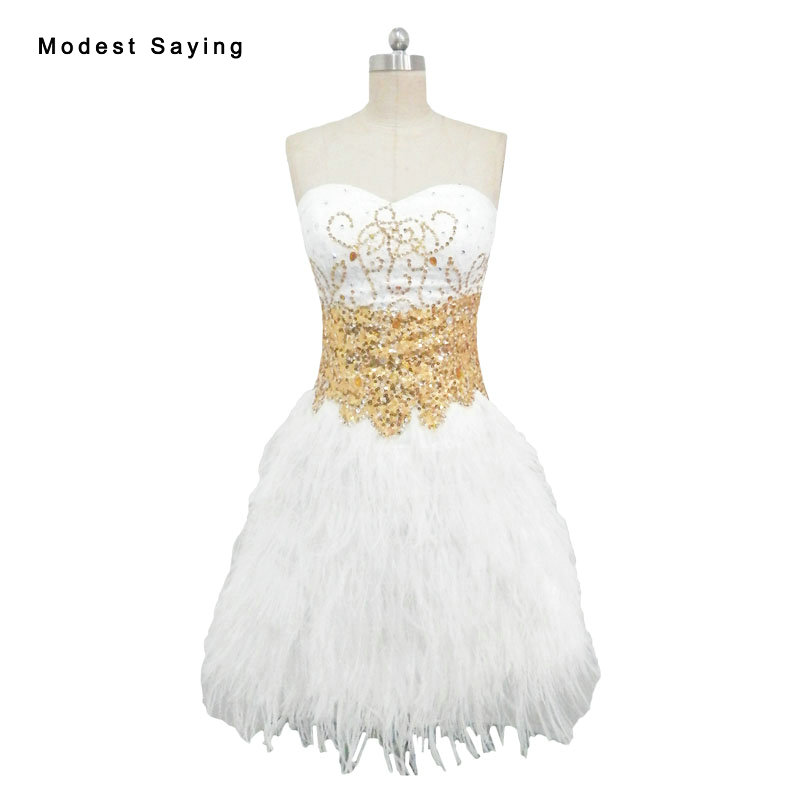 Real White Luxury Sexy A-Line Sweetheart Ostrich Feather Party   Cocktail     Dresses   2017 Short Homecoming Graduation Prom Gowns YC31